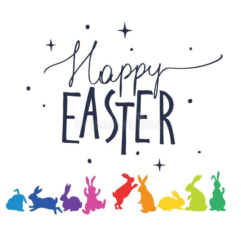 As silhuetas dos coelhos em cores do arco-íris arranjaram em um círculo Easter feliz ilustração stock