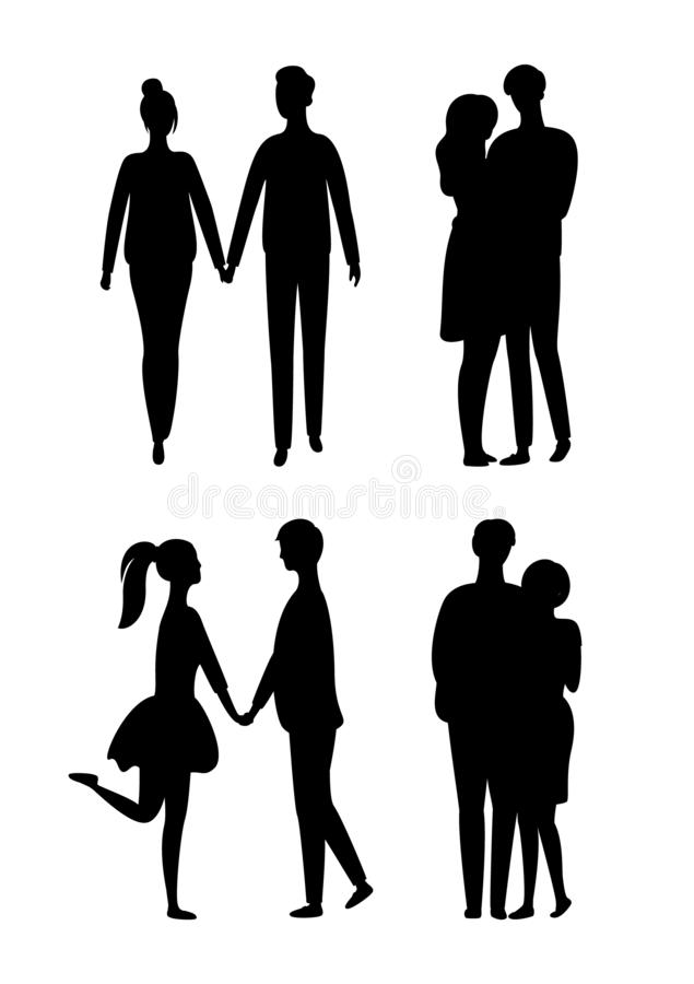 As silhuetas dos povos isolaram pares novos no amor ilustração royalty free