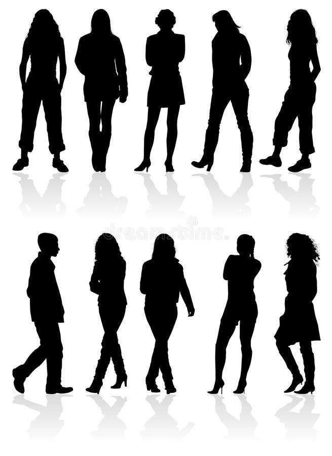 As silhuetas equipam e mulheres ilustração stock
