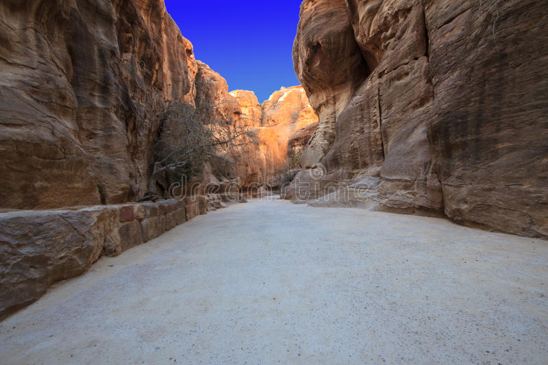 As-Siq Petra, Jordan. As-Siq Petra, Lost rock city of Jordan. UNESCO world heritage site and one of The New 7 Wonders of the World royalty free stock image