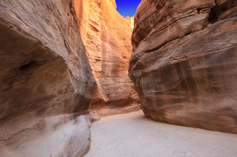 As-Siq Petra, Jordan. As-Siq Petra, Lost rock city of Jordan. UNESCO world heritage site and one of The New 7 Wonders of the World royalty free stock photography