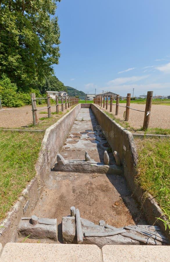 As sobras dos canais perto de Bitchu Takamatsu fortificam, Okayama, Japão imagens de stock royalty free