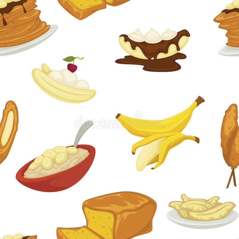 As sobremesas datilografam o vetor do teste padrão da padaria da banana e do pão ilustração do vetor
