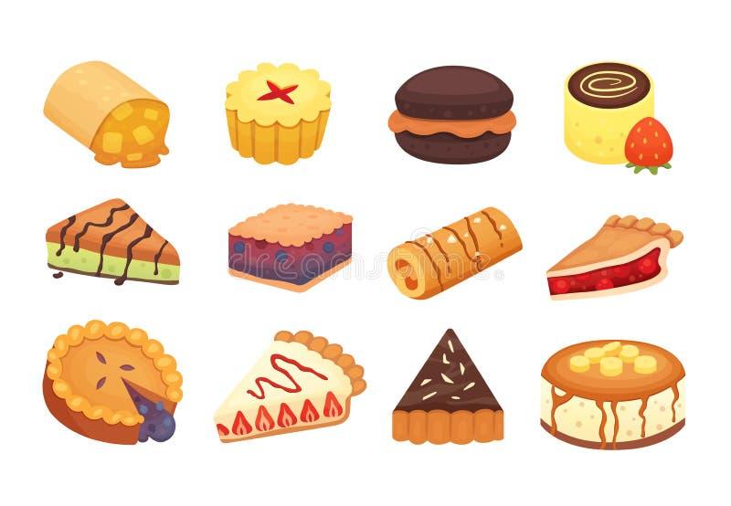 As sobremesas dos doces objetam a coleção, os bolos da morango, o fruto e tortas doces da baga com creme Bolo caseiro da padaria ilustração do vetor