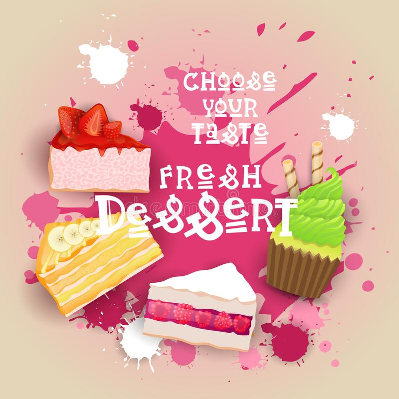 As sobremesas frescas ajustaram o logotipo delicioso bonito doce do alimento do bolo colorido da bandeira ilustração do vetor