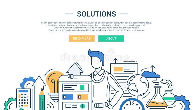 As soluções alinham a bandeira lisa do projeto com as ferramentas do homem e do negócio ilustração stock