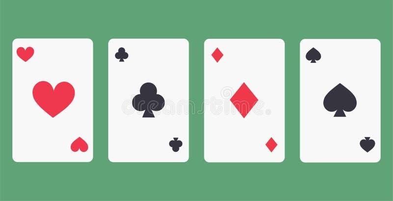 As-Spielkarte-Ikone des Vektor-vier vektor abbildung