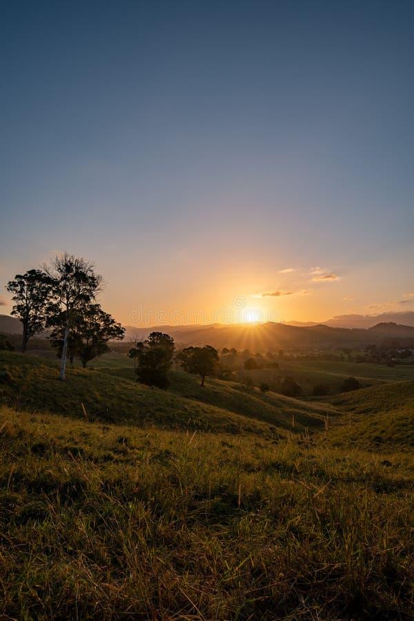 Dramatic sunset over Murwillumbah royalty free stock image