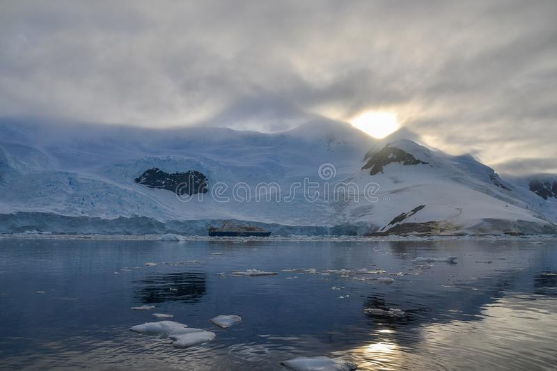 Sunset over mountains in Antarctica stock image