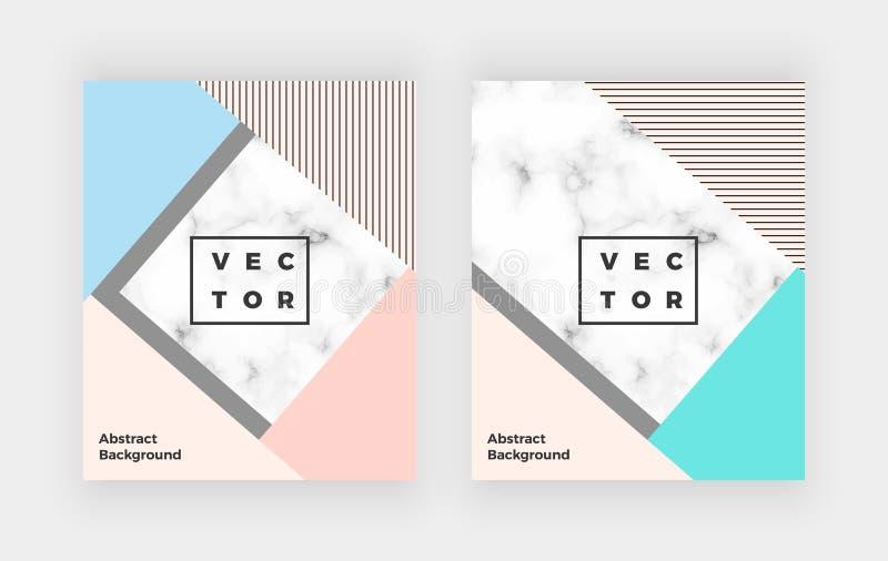 As tampas geométricas projetam com triângulos do rosa, os azuis e os cinzentos, textura de mármore A ilustração minimalista da di ilustração stock