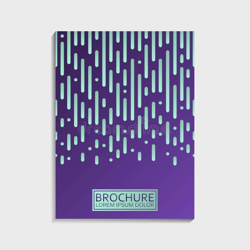 As tampas projetam para o folheto com linhas arredondadas geométricas abstratas teste padrão Vetor na moda moderno ilustração stock