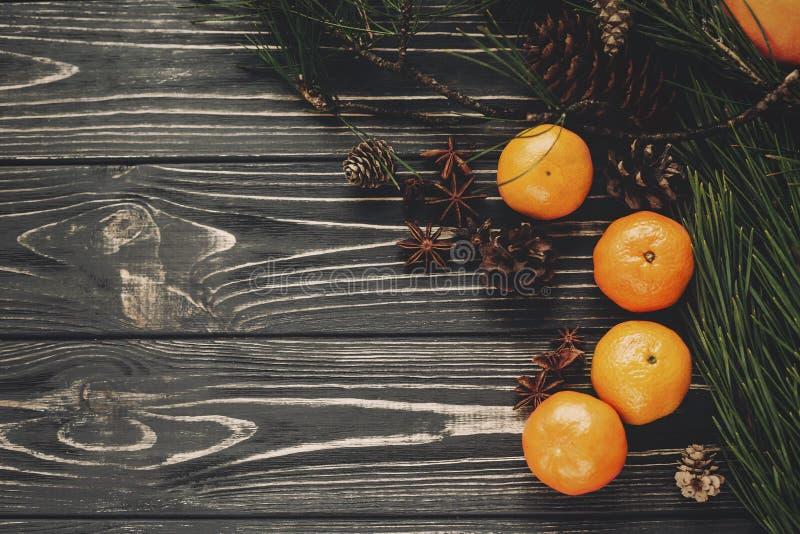 As tangerinas com abeto verde ramificam com cones e anis no rusti fotografia de stock royalty free