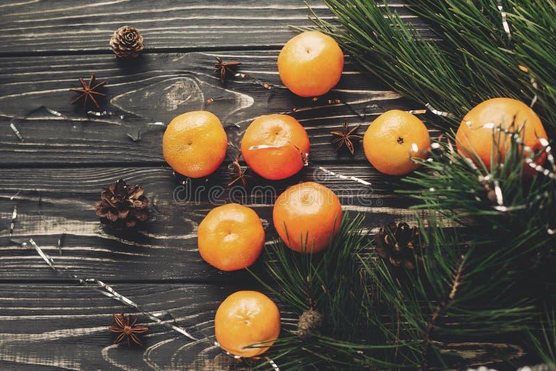 As tangerinas com abeto verde ramificam com cones e anis no rusti fotografia de stock