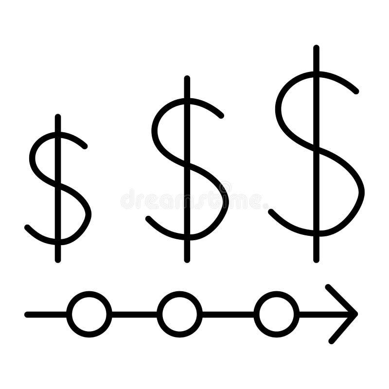 As taxas de moeda diluem a linha ícone Ilustração do vetor da taxa de dólar isolada no branco Projeto do estilo do esboço da fina ilustração stock