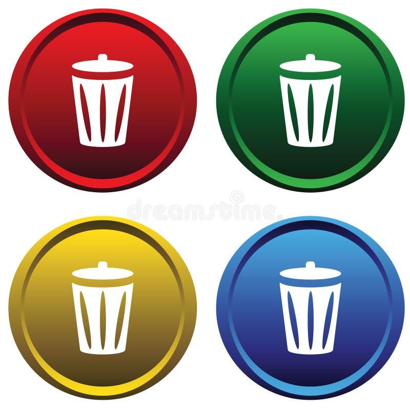 As teclas plásticas com recicl o escaninho ilustração stock