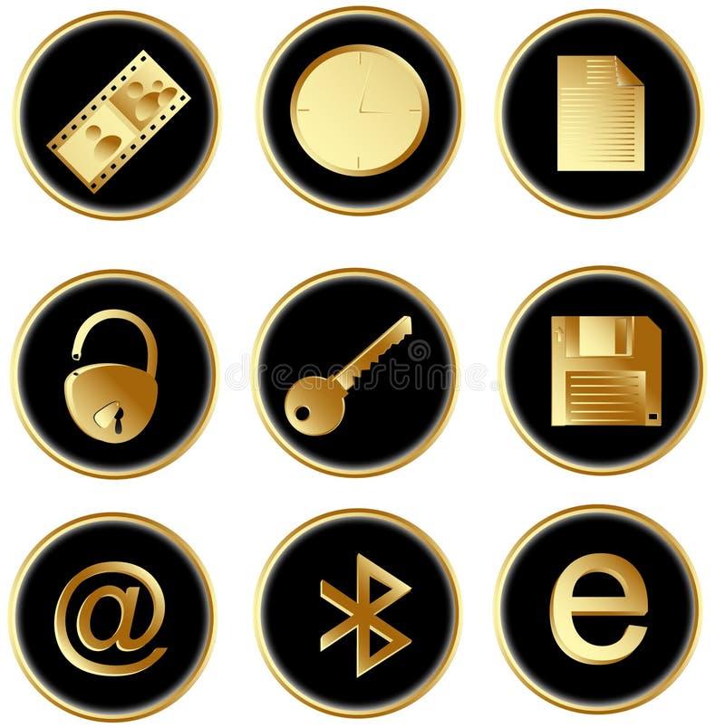 As teclas redondas do Web do ouro preto do vetor ajustaram 3 ilustração do vetor