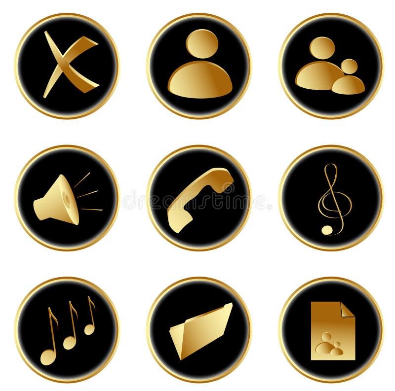 As teclas redondas pretas douradas do Web ajustaram 1 ilustração stock