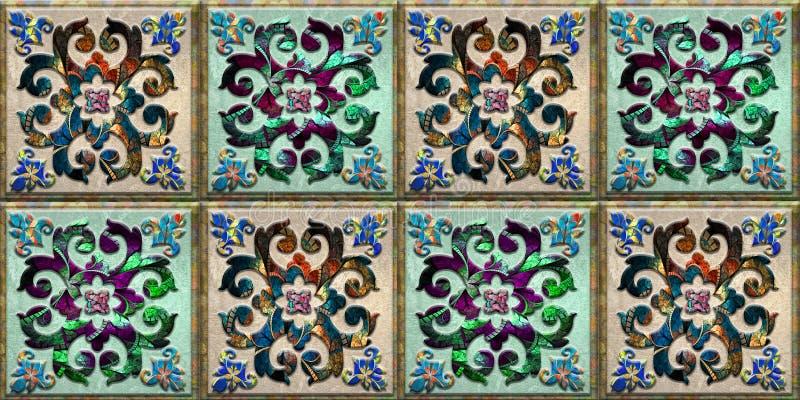 As telhas coloridas projetam para a casa da decoração ou o projeto interior do azulejo, fundo, linóleo, ilustração, matéria têxti imagem de stock royalty free