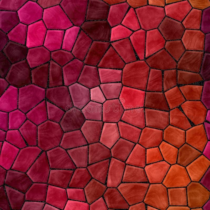 As telhas de mosaico rochosos plásticas de mármore abstratas texture o fundo com grout preto - cores alaranjadas roxas cor-de-ros ilustração do vetor