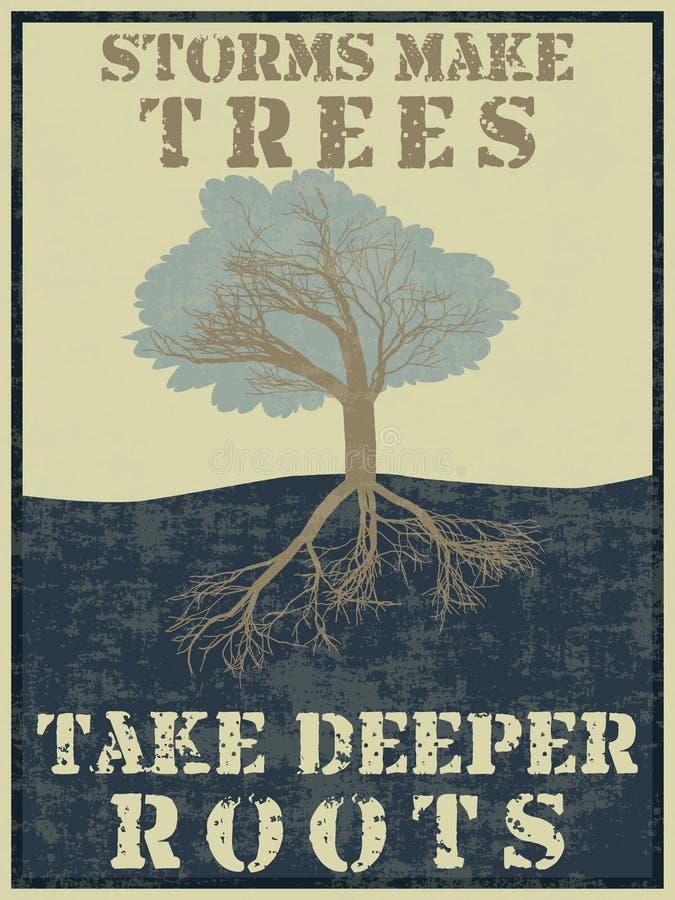 As tempestades fazem árvores tomar umas raizes mais profundas ilustração royalty free