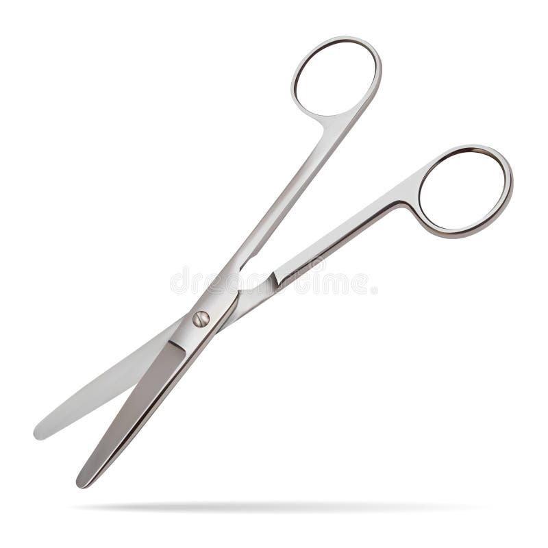 As tesouras articulam-se em linha reta com as extremidades sem corte, pretendidas cortar as camadas que têm uma espessura pequena ilustração stock