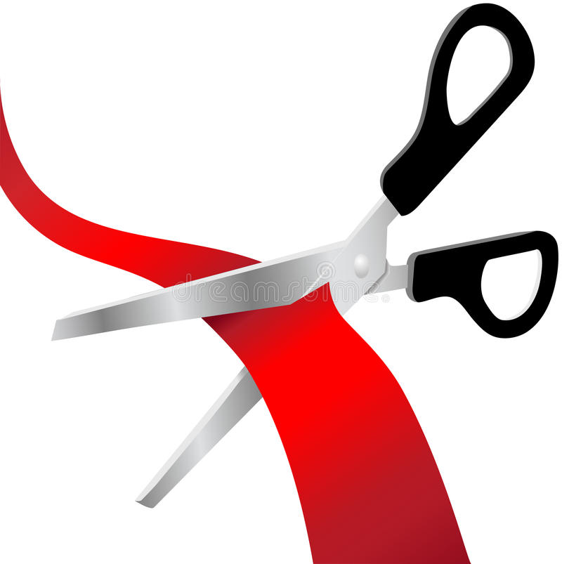 As tesouras cortaram a fita vermelha da abertura grande ilustração do vetor