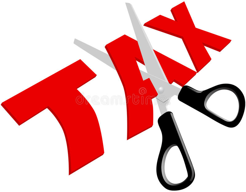 As tesouras cortaram impostos demasiado elevados injustos ilustração do vetor