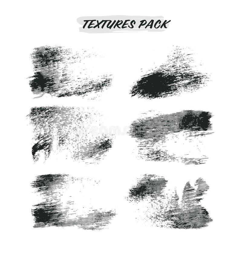 As texturas afligidas ajustaram marcas de escova isoladas ilustração stock