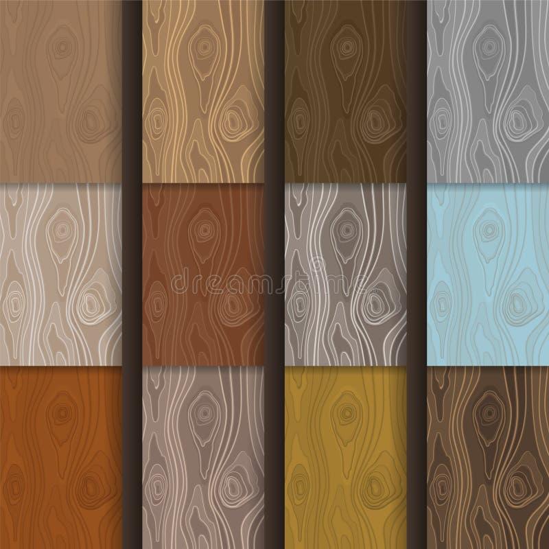 As texturas de madeira do vetor simples ajustaram-se no estilo liso ilustração royalty free