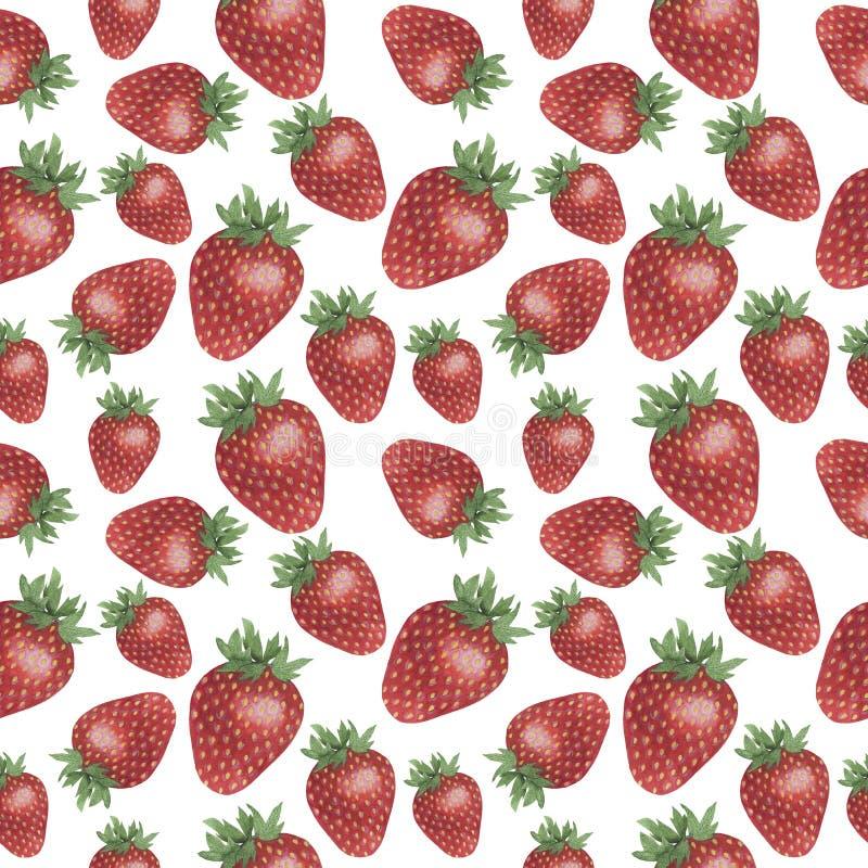 As texturas de papel de matéria têxtil de Digitas das ilustrações de Berry Watercolor da morango do teste padrão ajustaram o proj ilustração do vetor
