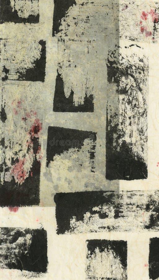 As texturas quadradas de tinta preta do teste padrão abstraem a pintura ilustração do vetor