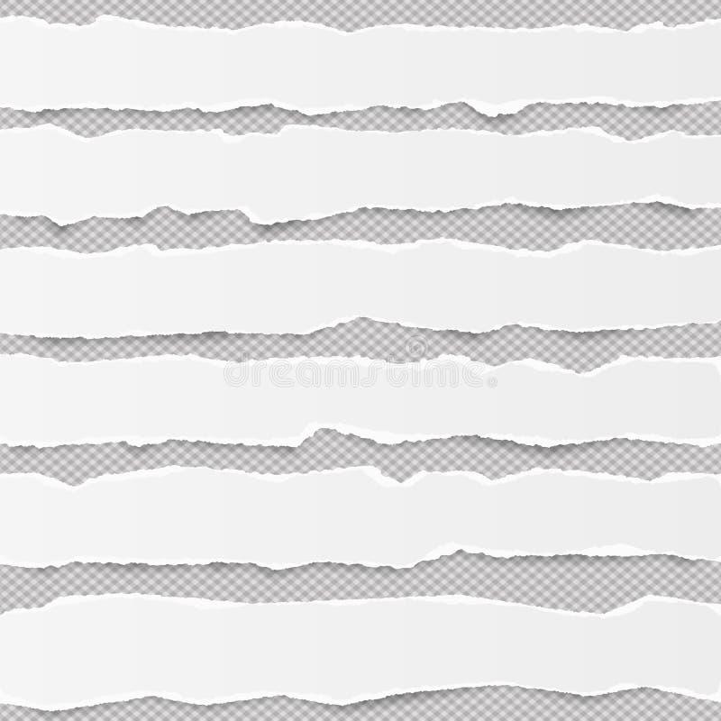 Download As Tiras De Papel Horizontais Vazias Rasgadas Branco De Nota Para O Texto Ou A Mensagem Colaram No Fundo Cinzento Com Sombras Ilustração do Vetor - Ilustração de lembrete, caderno: 107526262