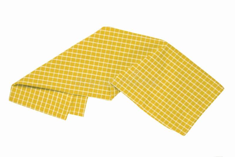 As toalhas isolaram-se Close-up da textura quadriculado amarela e branca da toalha de mesa do guardanapo ou do piquenique isolada fotografia de stock