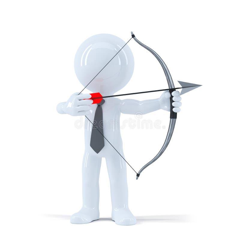 As tomadas do homem de negócios visam um alvo com curva e seta ilustração do vetor