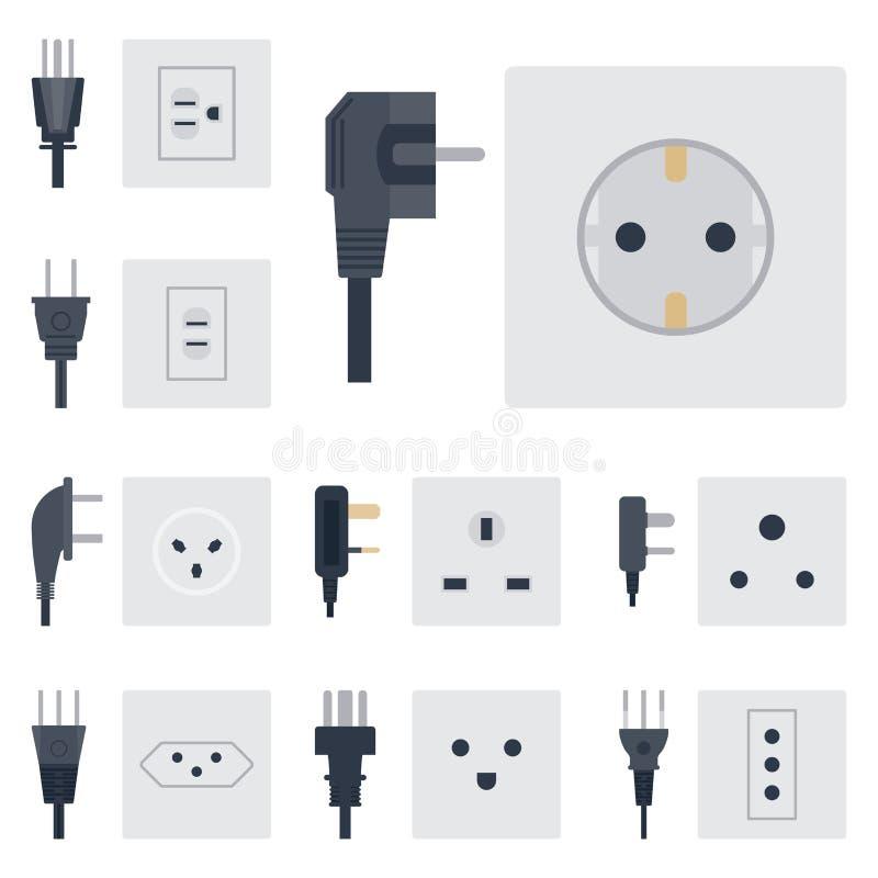 As tomadas elétricas do soquete da energia da ilustração do vetor da tomada elétrica obstruem o ícone europeu do interior do disp ilustração do vetor