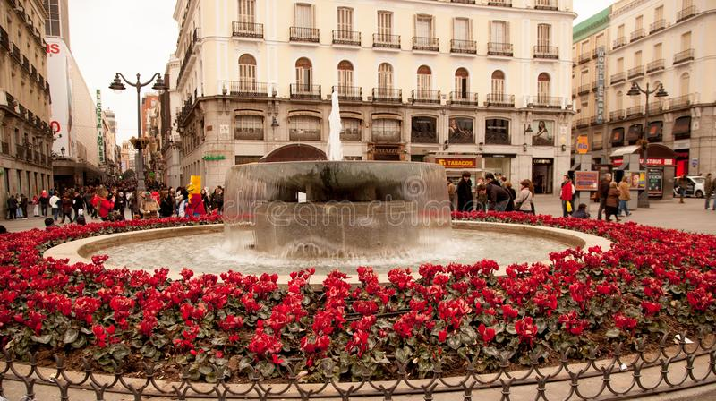 Download A Madrid town square editorial image. Image of flowers - 30111755