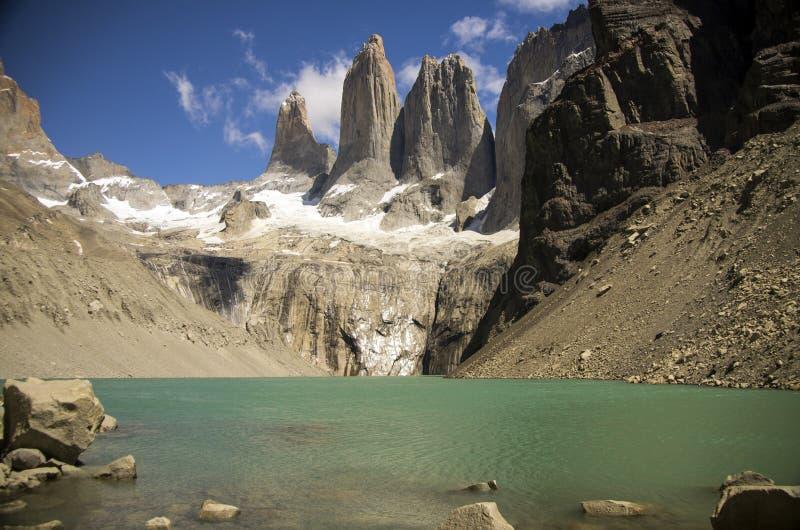 As três torres, parque nacional de Torres del Paine imagens de stock