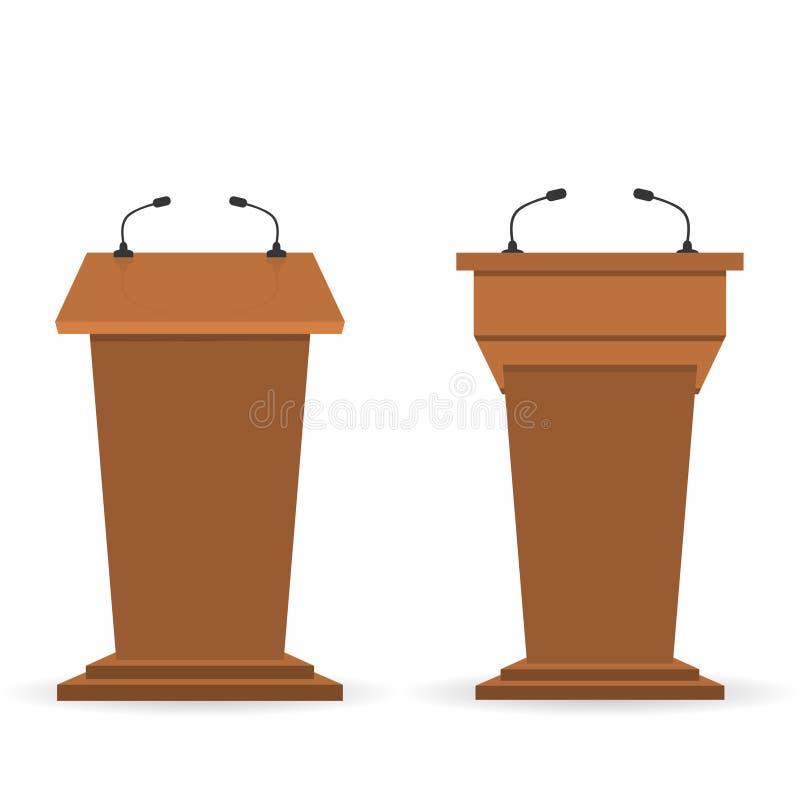 As tribunas de madeira do pódio ajustam, estão a tribuna com microfones A vista traseira e dianteira das audiências e dos repórte ilustração stock