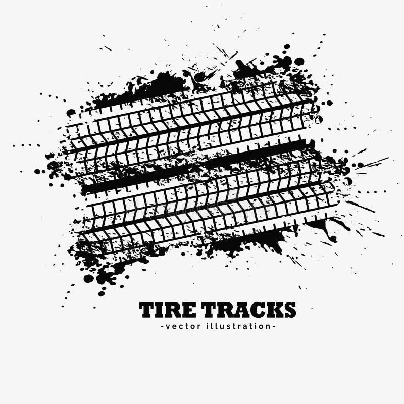 As trilhas abstratas do pneu do grunge com tinta chapinham o fundo ilustração do vetor