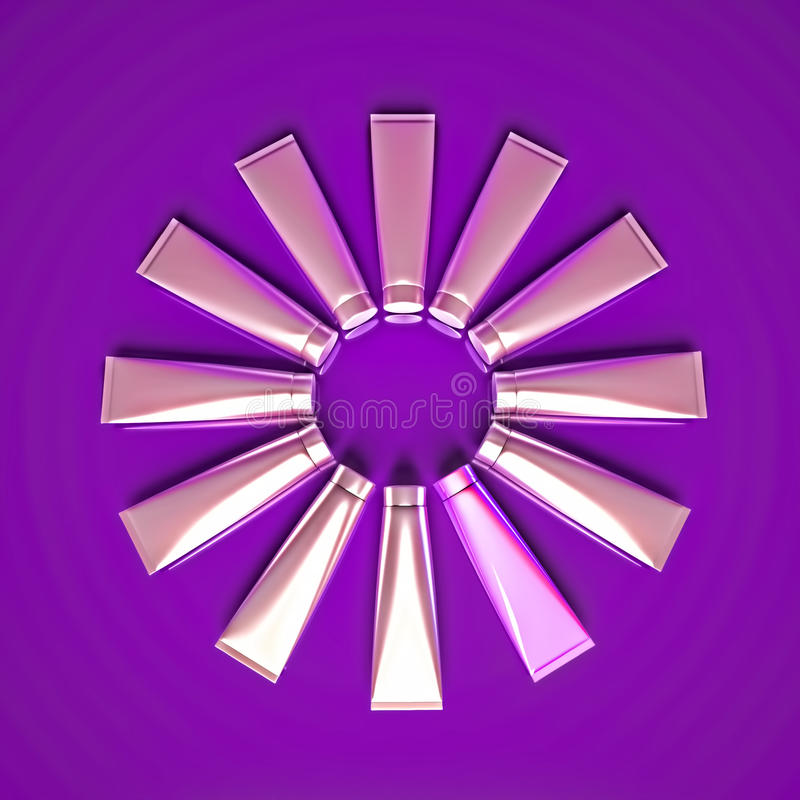 As tubas com creme cosmético são ficadas situadas sob a forma de um círculo foto de stock