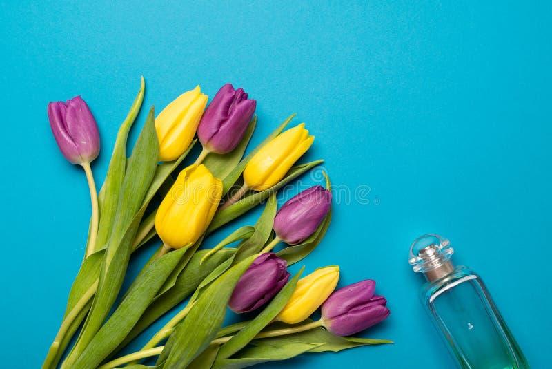 As tulipas amarelas e violetas com o plano floral da garrafa de perfume colocam no fundo azul imagem de stock