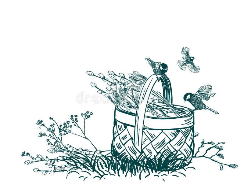 As tulipas da cesta florescem o vetor gravam o cartão isolado ilustração royalty free