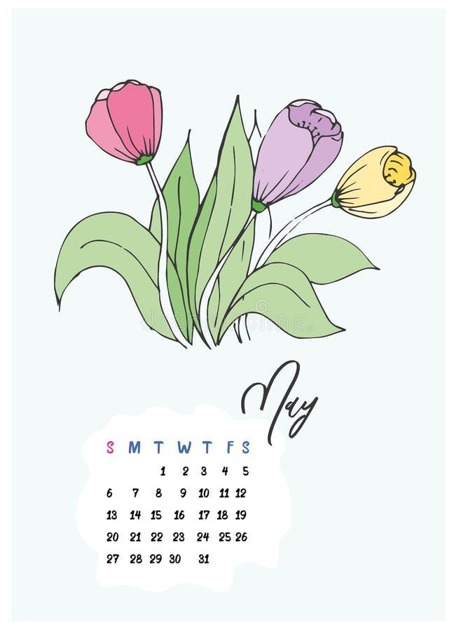 As tulipas da garatuja florescem o calendário do mês de podem 2018 fotografia de stock royalty free