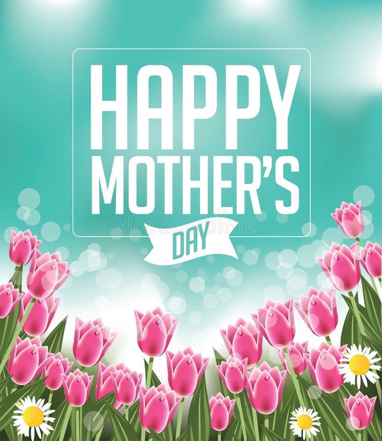 As tulipas felizes do dia de mães projetam o vetor do EPS 10 ilustração do vetor