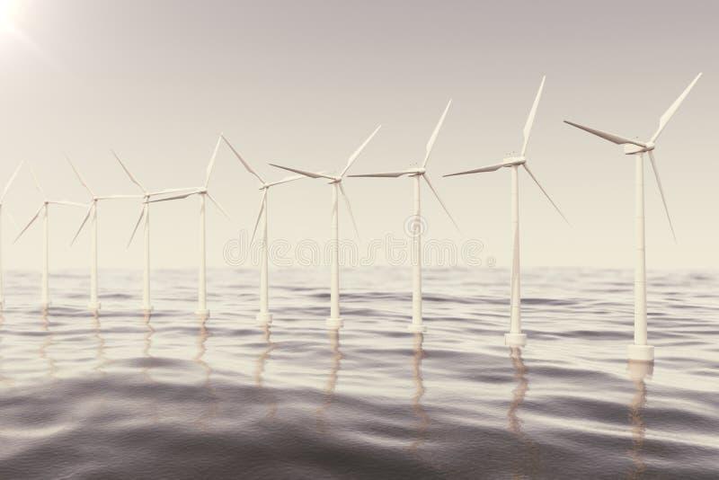 As turbinas da exploração agrícola de vento a pouca distância do mar travaram no céu do por do sol Contraste bonito com o mar azu ilustração do vetor