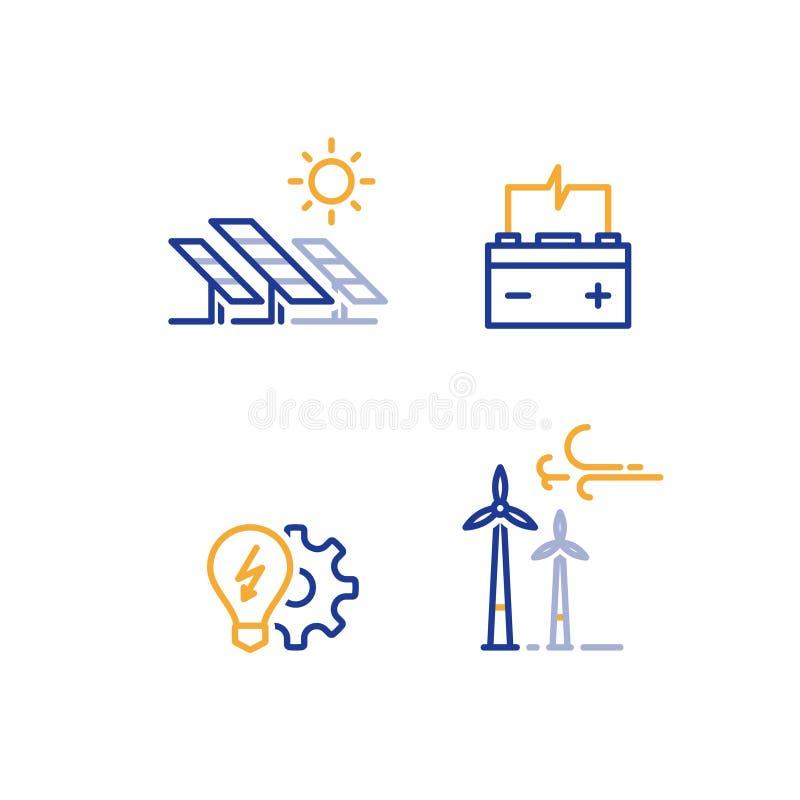 As turbinas eólicas a pouca distância do mar e os painéis solares alinham o ícone, logotipo verde do conceito da energia ilustração stock
