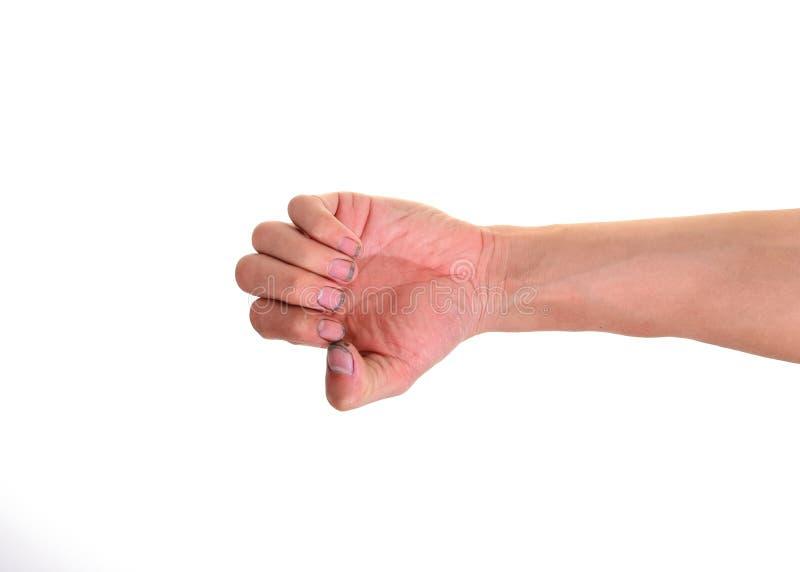 As unhas sujas, suas mãos estão sujas com a sujeira alojada nos pregos, bactérias sob pregos imagens de stock