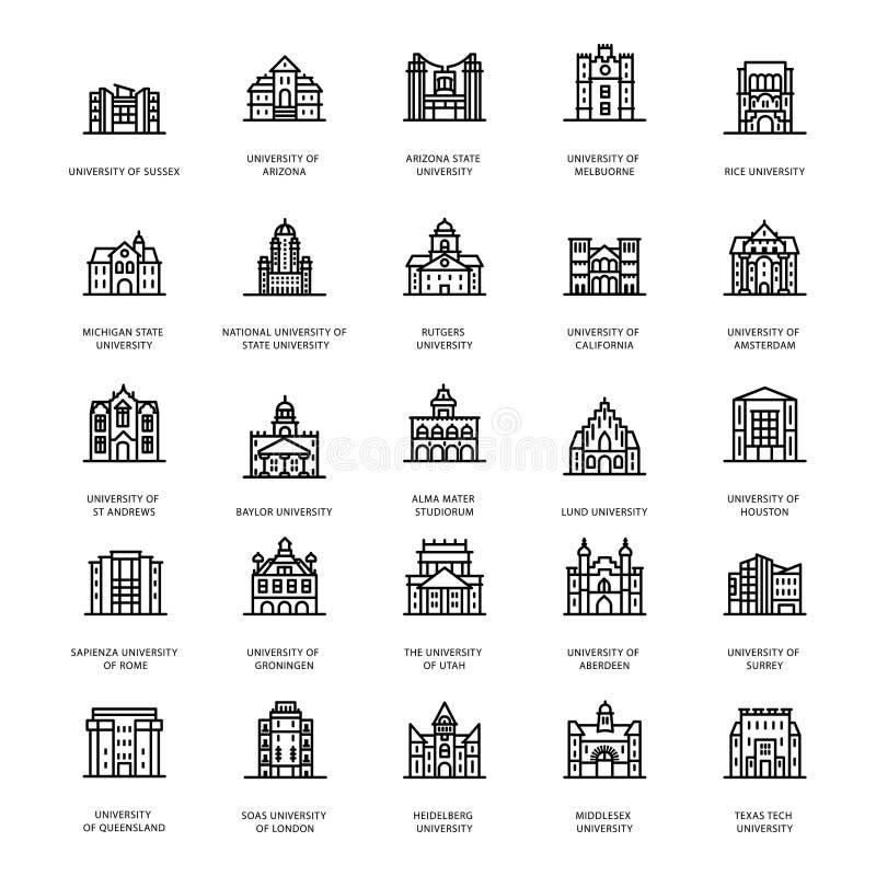 As universidades históricas alinham vetores ilustração do vetor