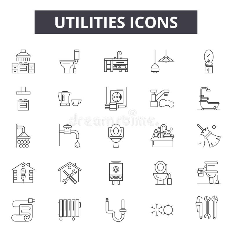 As utilidades alinham ícones, sinais, grupo do vetor, conceito da ilustração do esboço ilustração stock