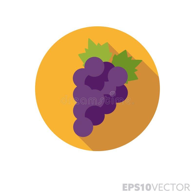 As uvas azuis projetam horizontalmente o ícone longo do vetor da cor da sombra ilustração royalty free